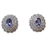Estate 1980's Tanzanite & Diamond Wedding Day Birthstone Anniversary Earrings 18K