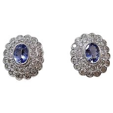 Estate 1980's Tanzanite & Diamond Wedding Day Birthstone Anniversary Earrings 18K