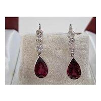 Vintage Estate Natural Pink Tourmaline & Diamond Wedding Day Earrings 14K