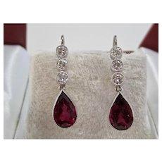 Vintage Estate Pink Tourmaline & Diamond Wedding Day Birthstone Anniversary Earrings 14K