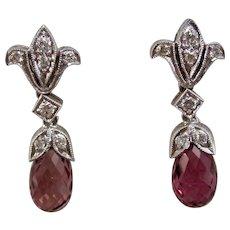 Vintage Estate Pink Tourmaline & Diamond Wedding Day Birthstone Earrings 18K
