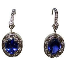 Vintage Estate Tanzanite Diamond  Wedding Day Birthstone Anniversary Dangle Earrings 14K
