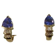 Vintage Estate Tanzanite & Diamond Earrings 14K