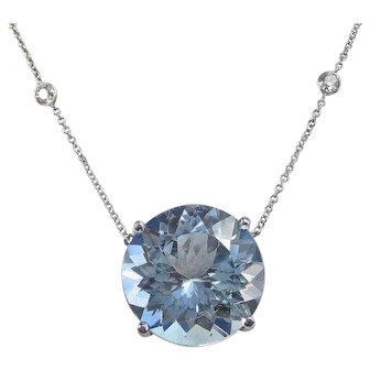 30 Carat Natural Estate Blue Topaz Diamond Wedding Birthstone Anniversary Necklace 14K