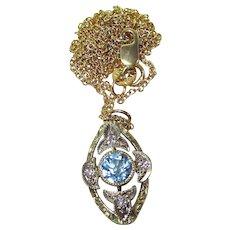 Art Deco Aquamarine Diamond Vintage Wedding Birthstone Lavaliere Pendant/Necklace 14K Yellow/White Gold