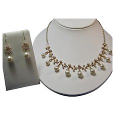 Vintage Estate Cultured Pearl & Diamond Wedding Day Necklace & Earrings Set 14K Yellow Gold