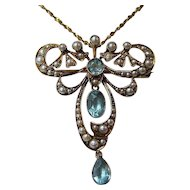 Antique Victorian 1880's English Vintage Aquamarine Lavaliere Wedding Brooch/Necklace 15K