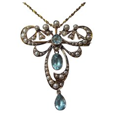 Antique Victorian 1880's English Vintage Aquamarine Lavaliere Wedding Brooch/Necklace 15K