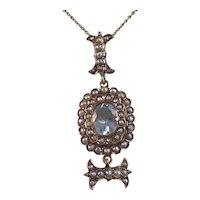 Antique Victorian 1890's Aquamarine Seed Pearl English Pendant