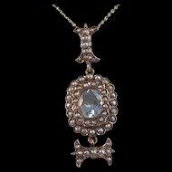 Antique Victorian 1890's Aquamarine Seed Pearl English Wedding Day Birthstone Anniversary Pendant