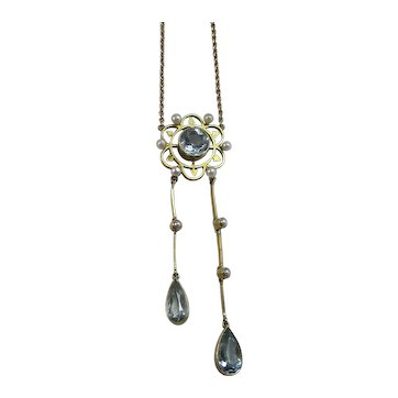 Vintage Estate Art Deco Aquamarine & Cultured Seed Pearl Lavaliere Wedding Necklace 18K