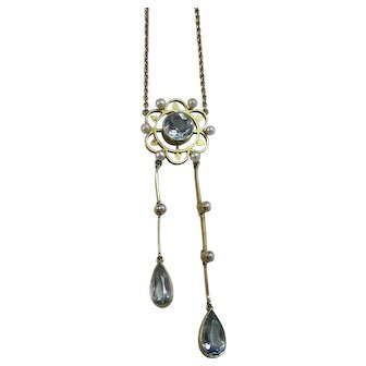 Art Deco Aquamarine & Cultured Seed Pearl Lavaliere Wedding Birthstone Anniversary Necklace 18K
