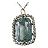 Antique Estate Edwardian Huge Natural Aquamarine Cultured Pearl Necklace 18K