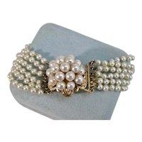 Vintage Estate Wedding Day Cultured Pearl Bracelet 14K