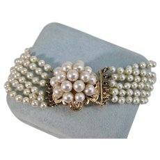 Vintage Estate Wedding Day Cultured Pearl Bracelet 14K