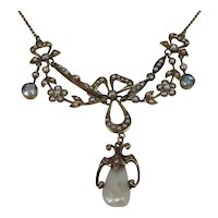 Antique Estate Edwardian Cultured Pearl & Aquamarine Necklace 14K