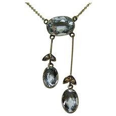 Antique Estate Aquamarine Seed Pearl Lariat Necklace 14K