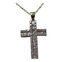 Vintage Estate Baguette Diamond Cross