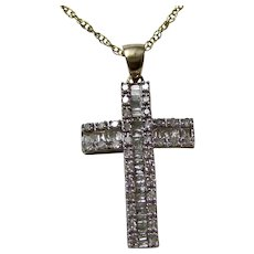 Vintage Estate Baguette Diamond Cross