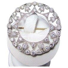 Antique Edwardian C. 1905 Old Mine Cut Old European Cut Diamond Wedding/Anniversary/Birthstone Pendant/Brooch Platinum