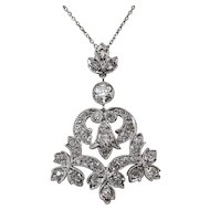 Diamond Lavaliere Estate Wedding Day Birthstone Necklace Platinum 14K
