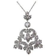 Diamond Lavaliere Edwardian Estate Wedding Day Birthstone Necklace Platinum 14K