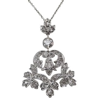 Diamond Lavaliere Edwardian Estate Wedding Day Birthstone Necklace Platinum 14K
