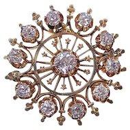Antique Victorian 1890's Diamond Estate Wedding Birthstone  Brooch/Pendant 14K