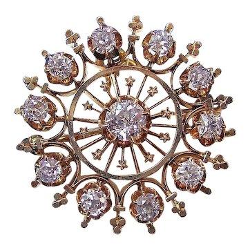 Antique Victorian 1890's Diamond Estate Brooch/Pendant 14K