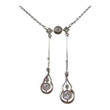 Antique Edwardian Wedding Negligee Diamond Necklace 14K
