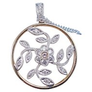 Natural Fancy Pink Diamond Floral Estate Wedding Birthstone Necklace 18K