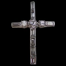 Birthstone Estate Diamond Cross Platinum
