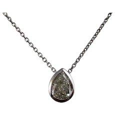 Vintage Diamond Bezel Wedding Day Birthstone Necklace 14K