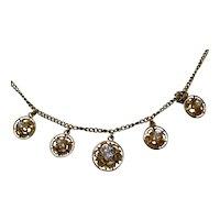 Antique Estate Edwardian Old European Cut Diamond Necklace 14K