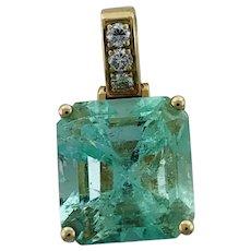 Large Vintage Columbian Emerald & Diamond Pendant 14K