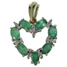 Vintage Estate Emerald & Diamond Heart Pendant 14K