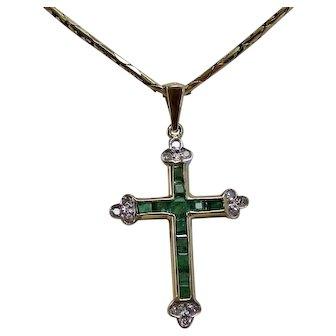 Estate 1970's Natural Emerald & Diamond Birthstone Wedding Day Cross 14K