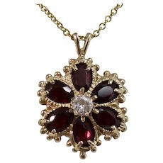 Vintage Estate Garnet & Diamond Flower Pendant 14K