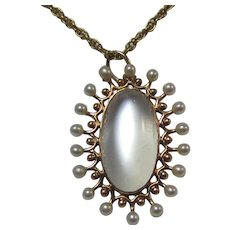 Antique Estate Moonstone Seed Pearl Necklace 14K