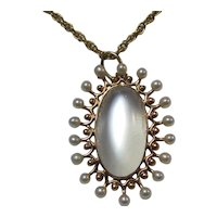 Antique Victorian Moonstone Seed Pearl Necklace 14K
