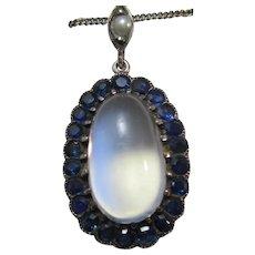 Vintage Estate Art Deco English Moonstone Sapphire Necklace/Pendant