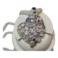 """Vintage Moonstone & Blue Topaz Heart Pendant with 20"""" Moonstone Bead Necklace"""