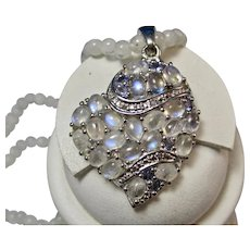 "Vintage Moonstone & Blue Topaz Heart Pendant with 20"" Moonstone Bead Necklace"