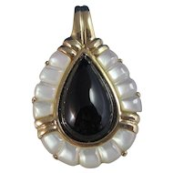 Vintage Estate 1960's Black Onyx Mother of Pearl Pendant 14K