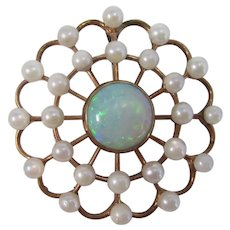 Antique Victorian Wedding Day Circle Pendant Opal Seed Pearl 14K Gold
