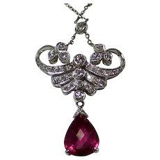 Vintage Estate Wedding Day Pink Tourmaline Diamond Lavaliere Necklace 18K