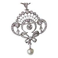 Diamond, Pearl, Platinum Estate Lavaliere Wedding Pendant/Brooch 18K