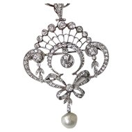 Diamond, Pearl, Platinum Estate Lavaliere Wedding Day Birthstone Pendant/Brooch 18K