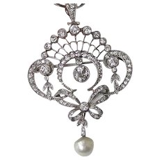 Diamond, Pearl, Platinum Estate Lavaliere Wedding Day Birthstone Pendant/Brooch 18K