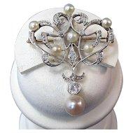 Art Deco Wedding Cultured Pearl & Diamond Estate Birthstone Necklace/Brooch Platinum 18K